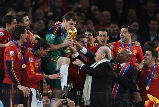 Iker Casillas, the Spain captain, holds the World Cup trophy. Photo: Getty Images