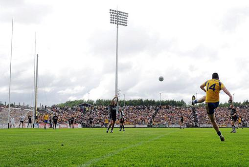 Donal Shine kicks the winning point during yesterday's Connacht SFC. Photo: Ray Ryan / Sportsfile