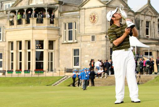 Louis Oosthuizen kisses the Claret Jug after winning the British Open at St Andrews yesterday. Photo: PA
