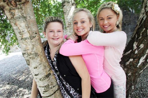 Crystal Casey, Tara Clohessy and Dorothy Pickford, all 14, in Limerick yesterday for the premiere of 'Urban Movement'
