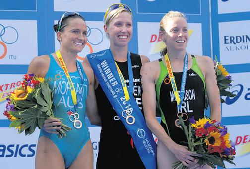Aileen Morrison (right) pictured with gold medal winner Lisa Norden (centre) and runner-up Emma Moffatt after the latest round of the Triathlon World Championship in Hamburg.