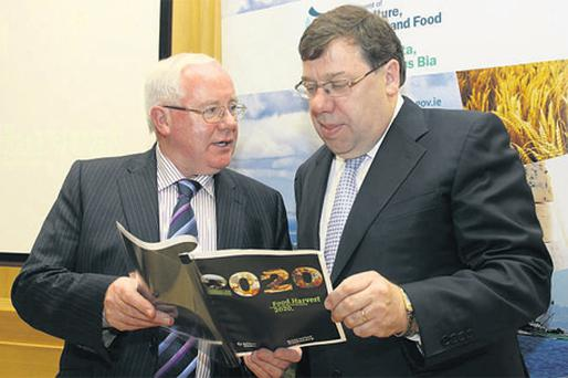 Agriculture Minister Brendan Smith and Taoiseach Brian Cowen launch a new strategy for Irish Agri-Food and Fisheries. Mr Cowen said the agri-food sector had a major role to play in Ireland's economic recovery. He was speaking at the launch for Food Harvest 2020, a report which proposes ambitious growth targets for the sector over the next decade