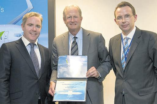 Pictured from left to right at the 2010 Farnborough Airshow is Avolon chief executive Domhnal Slattery, Jim Albaugh, president and CEO of Boeing Commercial Airplanes, and John Higgins, Avolon president and chief commercial officer