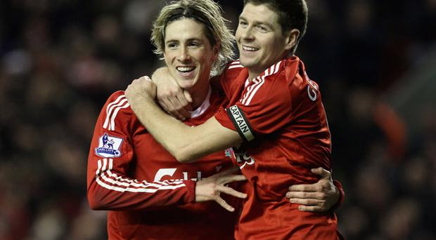 Fernando Torres and Steven Gerrard. Photo: Getty Images
