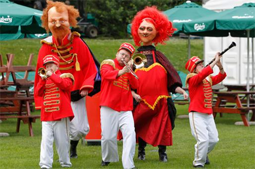 Performers from theatre group Bui Bolg herald the Carlsberg Comedy Carnival in Dublin yesterday