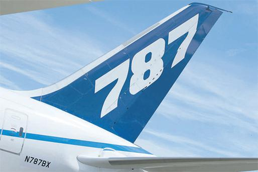 The tail fin of the Boeing 787 Dreamliner as seen at the 2010 Farnborough International Airshow