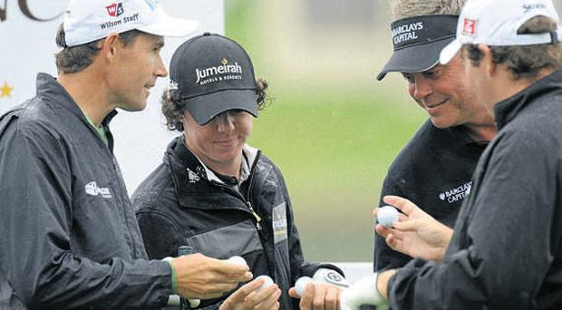 Padraig Harrington, Rory McIlroy, Darren Clarke and Shane Lowry declaring their balls at the 2010 Lough Erne Challenge.