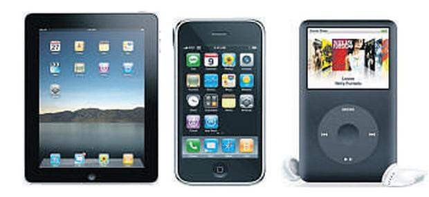 Left to right; the iPad, iPhone and iPod