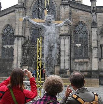 David Mach's sculpture depicting the Crucifixion is made from coathangers