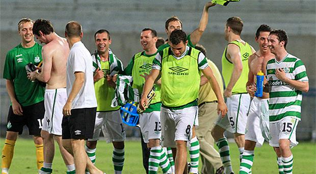 Shamrock Rovers players celebrate their side's 1-0 victory over Bnei Yehuda, Tel-Aviv in their UEFA Europa League second qualifying round, second leg, in Tel-Aviv last night - Rovers won 2-1 on aggregate
