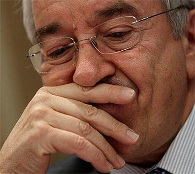 Bank of Spain Governor Miguel Angel Fernandez Ordonez during a news conference in Madrid yesterday