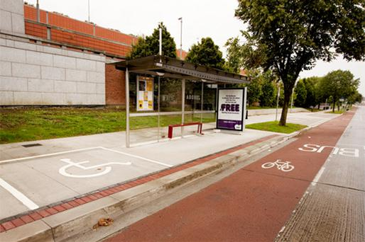 Costly project: The upgraded bus shelter at DCU yesterday