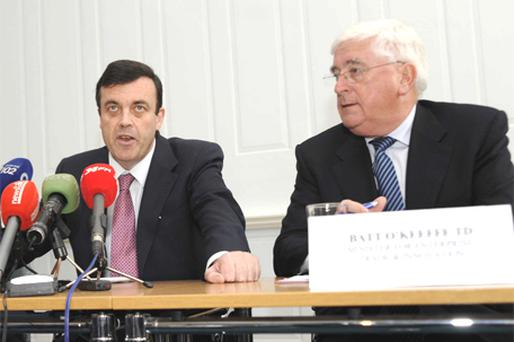 Get the bankers in: Brian Lenihan, left, and Batt O'Keeffe