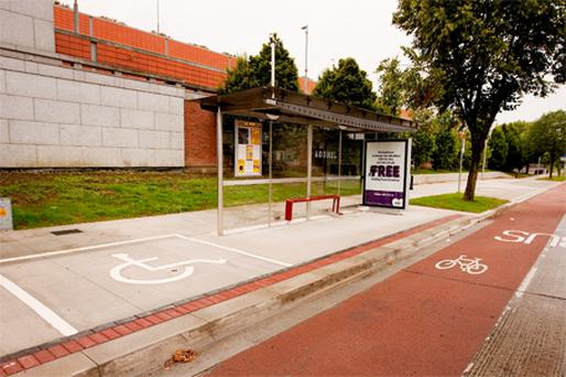 The controversial bus stop at Dublin City University, which cost Dublin City Council €170,000