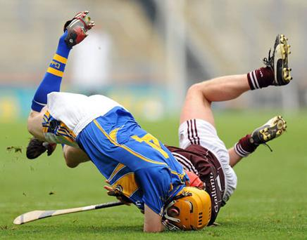 Tipperary's Lar Corbett collides with Galway's Ollie Canning. Photo: Oliver McVeigh / Sportsfile