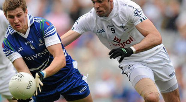 Kildare's Dermot Earley gives chase to Monaghan's Darren Hughes during Saturday's SFC qualifier at Croke Park. Photo: Oliver McVeigh / Sportsfile