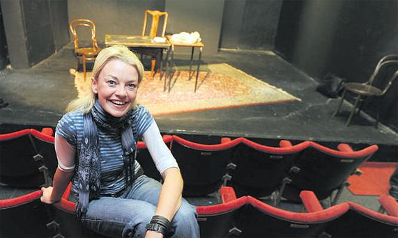 Actress Lorna Quinn during a break in rehearsals at the refurbished Focus Theatre in Dublin