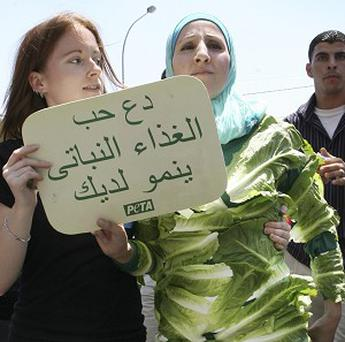 Jordanian animal rights activist Amina Tarek, right, clothed in lettuce leaves (AP)