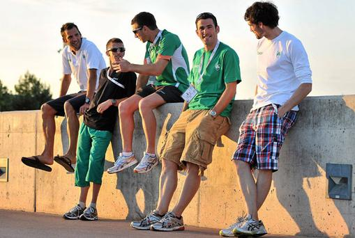 Irish athletes Thomas Chamney, 1500m, Robert Heffernan and Jamie Costin, 20K walk, Gordon Kennedy, 400m and Brian Murphy, 4x400m, relax near the team hotel in Barcelona. Photo: Brendan Moran / Sportsfile
