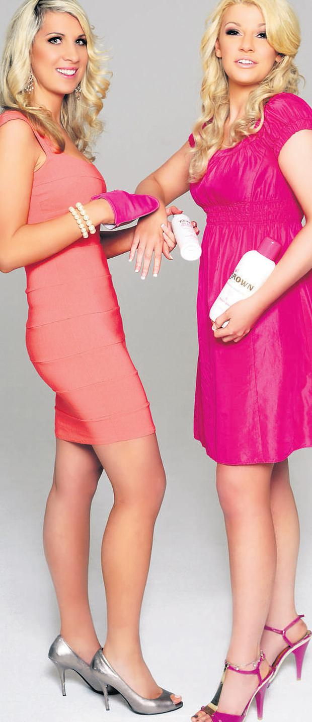 Faking it: Frances Brennan and Donna Ledwidge (right) launched their own range of fake tans, called Wow Brown