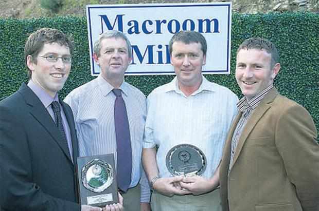 Winners: (from left) Alan Buttimer, Clonakilty, second in the U70 Intermediate section, Jim O'Leary, Macroom Mills, Denis White, Clonakilty, winner of the U70 in the Elite section, and Michael Coleman, Cork Holstein Friesian Breeders' Club secretary, hand out the CHFBC awards