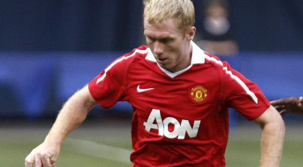 Paul Scholes building up his fitness on the North American tour. Photo: Getty Images
