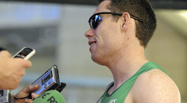 Ireland's Jason Smyth talks to the media after qualifying for the 100m semi-finals in the European Athletics Championships in Barcelona yesterday.