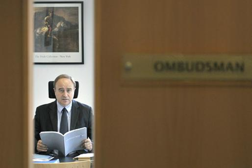 Financial Services Ombudsman William Prasifka, pictured in his office, at the publication of his annual report for 2009. Complaints to the Ombudsman rose by 28pc last year due to the financial crisis