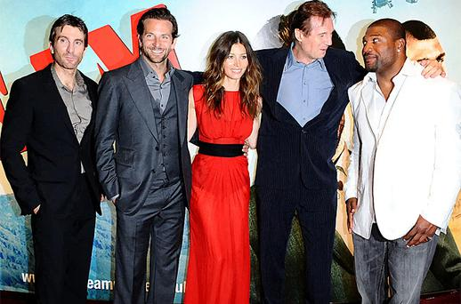 The stars of the film (left - right) Sharlto Copley, Bradley Cooper, Jessica Biel, Liam Neeson and Quinton Jackson arriving for the UK premiere of The A-Team in London's Leicester Square. Photo: PA