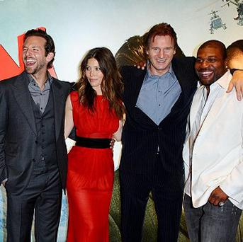 The stars of the film (left - right) Sharlto Copley, Bradley Cooper, Jessica Biel, Liam Neeson and Quinton Jackson