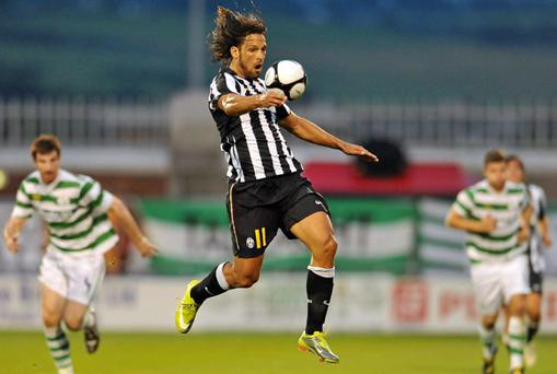 Amauri of Juventus shows some impressive close control in the Europa League third qualifying round, first leg against Shamrock Rovers at Tallaght Stadium last night.
