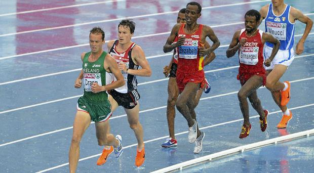 Ireland's Alistair Cragg leads the field during his heat of the Men's 5000m where he finished in 6th place in a time of 13:37.66 and qualified for the final.