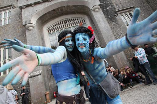 Emma Lynch and Michael Gallagher get in the spirit at Castle Palooza festival yesterday
