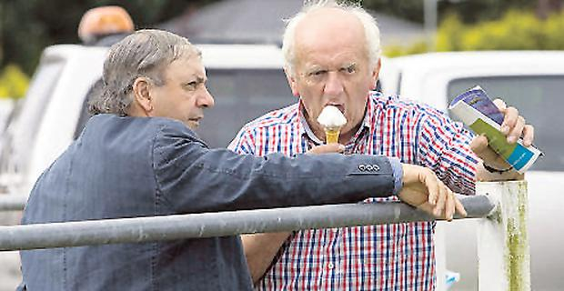 Jimmy O'Brien, Corofin, Co Clare, and Tom O'Driscoll, O'Callaghans Mills, Co Clare, watch the action at the Ennis Showgrounds, Co Clare, during the County Show