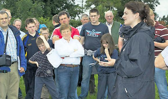 Catherine O'Leary, Intervet, address farmers at the Teagasc beef farm walk on Denis Large's farm, Urard, Urlingford, Co Tipperary