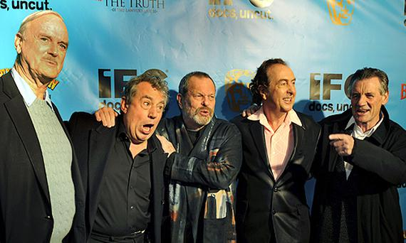 Cast members of the Monty Python. (left - right) John Cleese, Terry Jones, Terry Gilliam, Eric Idle and Michael Palin. Photo: Getty Images.