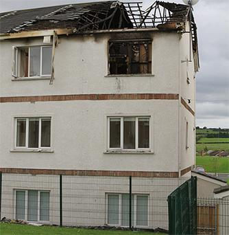 The remains of the third floor apartment in the Commons, Duleek