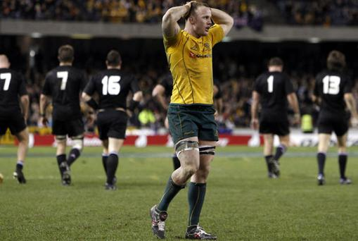 Australia's Richard Brown reacts to another New Zealand try during last weekend's victory for the All Blacks in Melbourne. Photo: Reuters