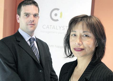 Christiane Hutchinson, managing director, Cataylst Management Partners, and Mark O'Kelly, Lavery Kilroy Gilmartin Solicitors, at Catylst Management Partners in City West Business Park, Dublin