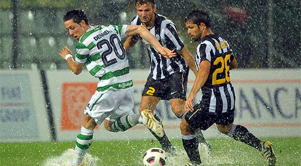 Billy Dennehy of Shamrock Rovers and Juventus' Marco Motta and Diego battle for possession during the Europa League clash at the Stadio Braglia in Modena last night