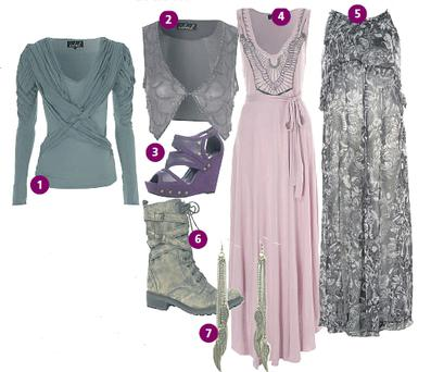 (1) Green jersey top, (2) beaded waistcoat and (3) studded aubergine wedges, all €39 each. (4) Pink maxi dress, €55 and (5) grey paisley print maxi, €59. (6) Lace-up boots, €99 and (7) wing-tipped earrings, €7 all at New Look, Liffey Valley Shopping Centre, Clondalkin, Dublin 22 and branches. Tel: 01-623 5462 and Newlook.com