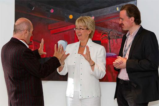 Tourism Minister Mary Hanafin with writer Colm Toibin (left) and Damian Downes, programme director of the Kilkenny Arts Festival, as the event opened yesterday