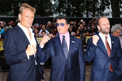 Dolph Lundgren and Sylvester Stallone arriving at the British premiere of 'The Expendables' at the Odeon, Leicester Square, London, last night