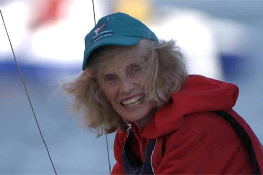 Eunice Kennedy Shriver on her boat during the Eunice Kennedy Shriver VIP Sailboat Race, in Dun Laoghaire Harbour, Co Dublin, in June 2003