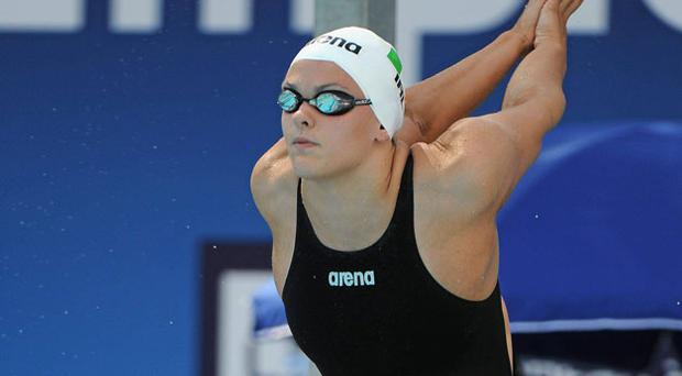 Grainne Murphy prepares for her heat in yesterday's 800m freestyle in which she broke the Irish record by almost eight seconds. Photo: Brian Lawless / Sportsfile