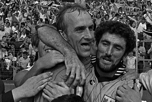 Brian Mullins and team-mate Kieran Duff celebrate Dublin's momentous victory over Cork in the 1983 All-Ireland SFC semi-final replay at Pairc Ui Chaoimh - supporters on Hill 16 will be hoping for more of the same when the two counties do battle for a place in this year's final this Sunday.