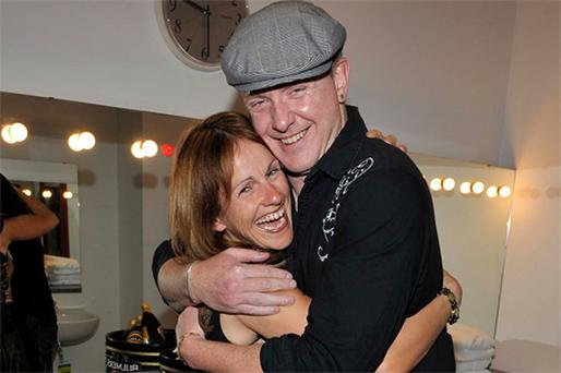 Sharon Shannon and Damien Dempsey hug before going on stage at the 2010 Ceili Culture Festival in Dublin's Temple Bar last night