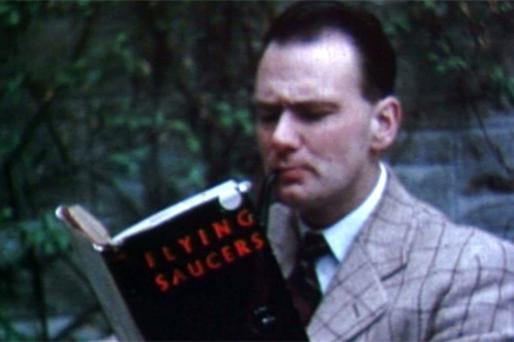 A young Patrick Moore from a scene in 'Them In The Thing', a 1950s B-movie about UFOs that was made in Monaghan