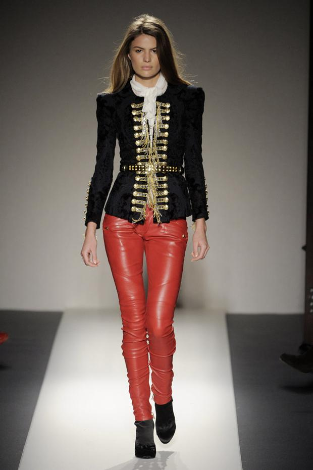 Military and leather trends look set to continue for AW2010 as seen here at the Balmain show during Paris fashion week. Photo: Getty Images