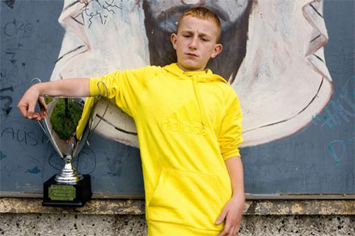 Calvin McNamara with his 'Stars in the Hood' trophy in Moyross, Limerick, yesterday